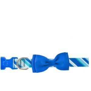 Top Paw Angle Stripe blue Bow Dog pet Collar m nwt